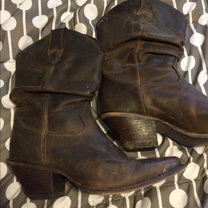 Durango Crush slouched brown cowboy boots.